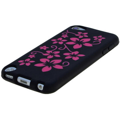 iGadgitz Black & Pink Flowers Silicone Skin Case Cover for Apple iPod Touch 6th & 5th Generation + Screen Protector Thumbnail 4