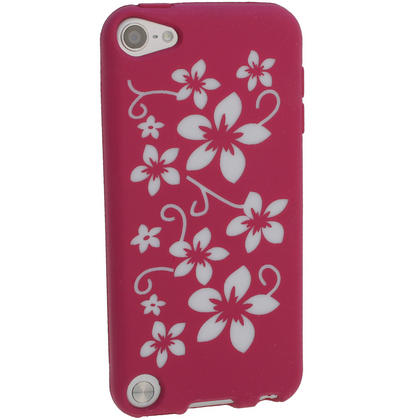 iGadgitz Pink & White Flowers Silicone Skin Case Cover for Apple iPod Touch 6th & 5th Generation + Screen Protector Thumbnail 3