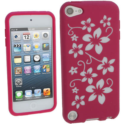 iGadgitz Pink & White Flowers Silicone Skin Case Cover for Apple iPod Touch 6th & 5th Generation + Screen Protector Thumbnail 1