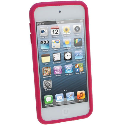 iGadgitz Pink & White Flowers Silicone Skin Case Cover for Apple iPod Touch 6th & 5th Generation + Screen Protector Thumbnail 2