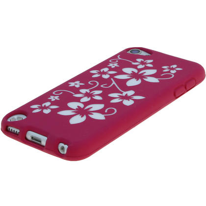 iGadgitz Pink & White Flowers Silicone Skin Case Cover for Apple iPod Touch 6th & 5th Generation + Screen Protector Thumbnail 4