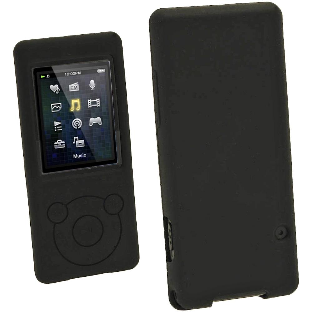 iGadgitz Black Silicone Case for Sony Walkman NWZ-E473 NWZ-E474 NWZ-E574 NWZ-E575 E Series MP3 Player + Screen Protector