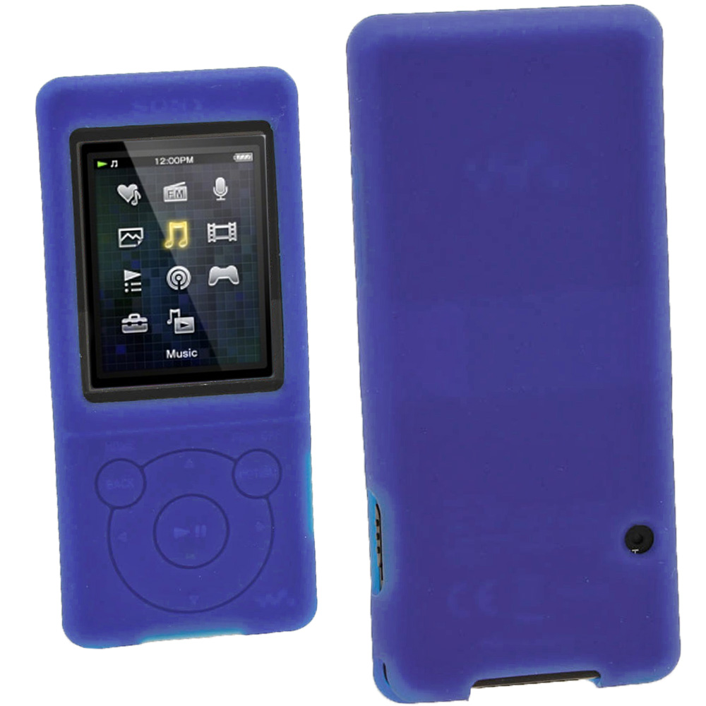 iGadgitz Blue Silicone Case for Sony Walkman NWZ-E473 NWZ-E474 NWZ-E574 NWZ-E575 E Series MP3 Player + Screen Protector