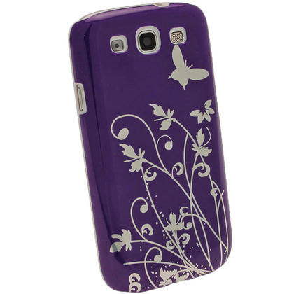 iGadgitz Purple PC Hard Case with Silver Butterfly and Flower Pattern for Samsung Galaxy S3 III i9300 + Screen Protector Thumbnail 3
