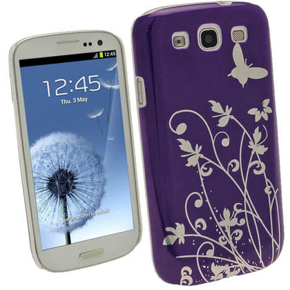 iGadgitz Purple PC Hard Case with Silver Butterfly and Flower Pattern for Samsung Galaxy S3 III i9300 + Screen Protector Thumbnail 1
