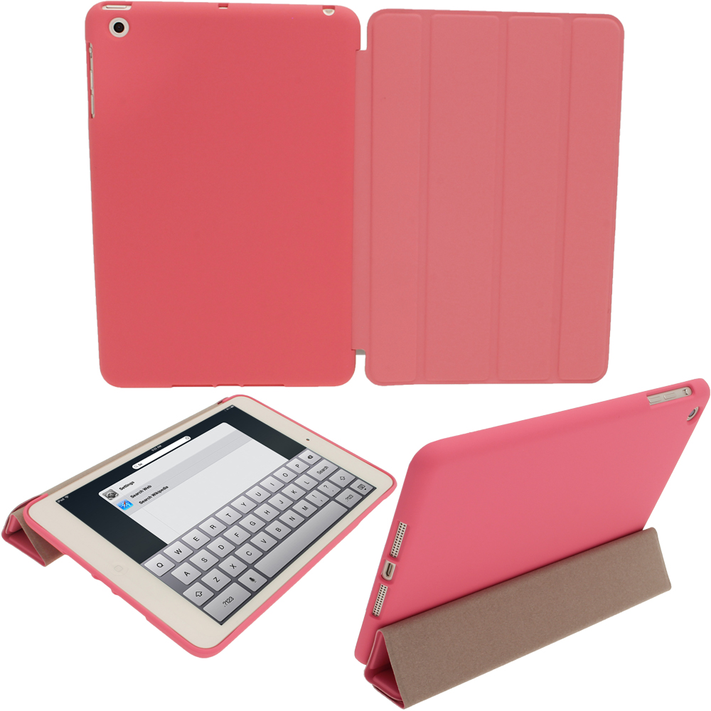 iGadgitz Pink Rubberised Plastic with Hard Back Case for Apple iPad Mini 16GB 32GB 64GB. With Sleep/Wake Function.