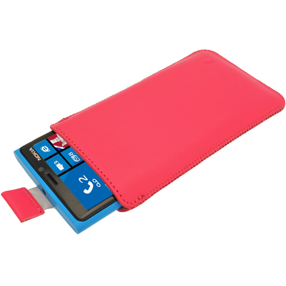 iGadgitz Pink Leather Pouch Case Cover for Nokia Lumia 920, 925 & 1020 Windows Smartphone Mobile Phone