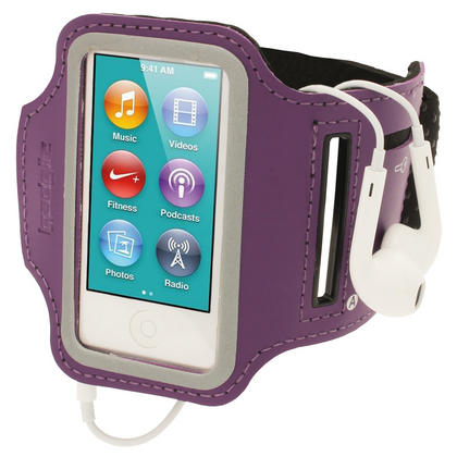 iGadgitz Purple Reflective Anti-Slip Neoprene Sports Gym Jogging Armband for Apple iPod Nano 7th Generation 16GB Thumbnail 1