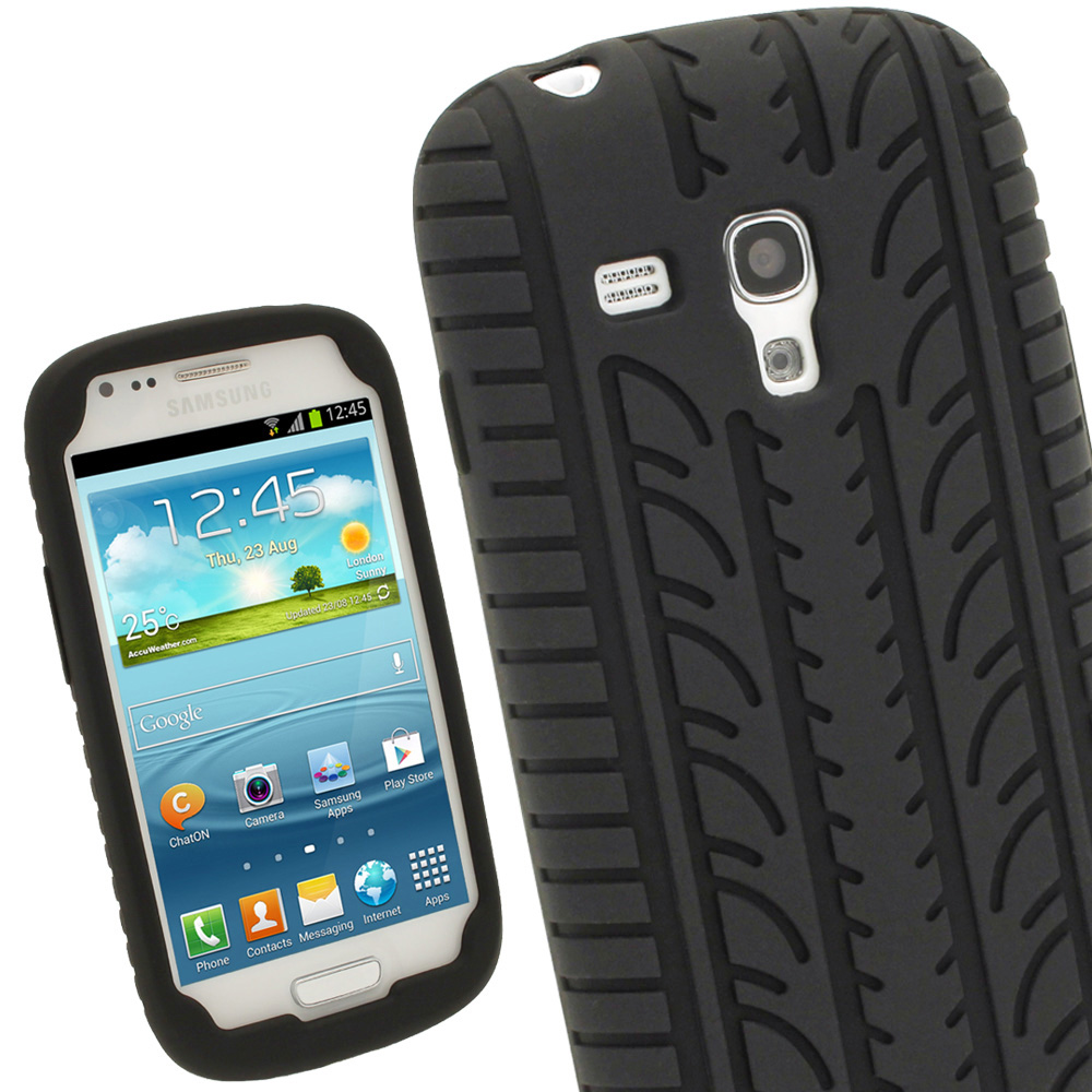 iGadgitz Black Silicone Skin Case Cover with Tyre Tread Design for Samsung Galaxy S3 III Mini I8190 + Screen Protector