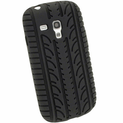 iGadgitz Black Silicone Skin Case Cover with Tyre Tread Design for Samsung Galaxy S3 III Mini I8190 + Screen Protector Thumbnail 3