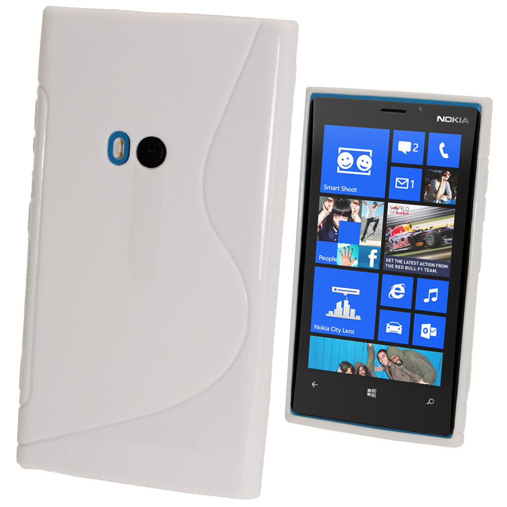 iGadgitz Dual Tone White Gel Case for Nokia Lumia 920 + Screen Protector