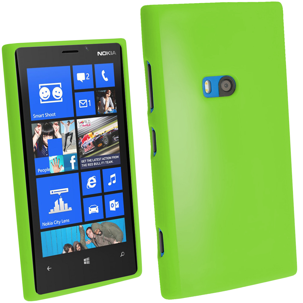 iGadgitz Green Glossy Gel Case for Nokia Lumia 920 + Screen Protector
