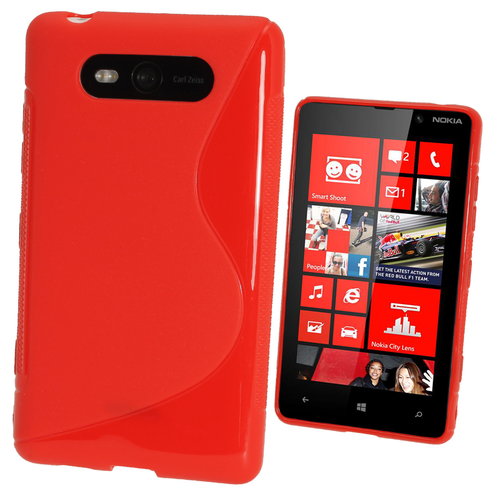 iGadgitz Dual Tone Red Gel Case for Nokia Lumia 820 + Screen Protector