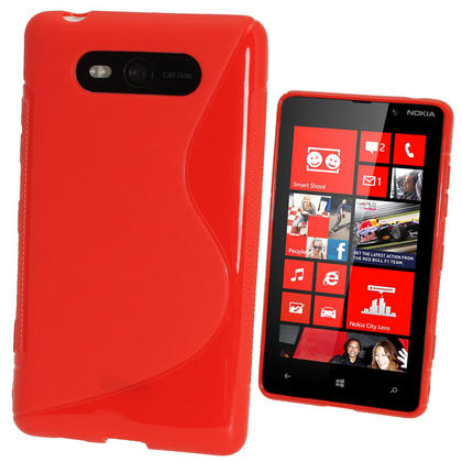 iGadgitz Dual Tone Red Gel Case for Nokia Lumia 820 + Screen Protector Thumbnail 1