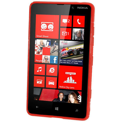 iGadgitz Dual Tone Red Gel Case for Nokia Lumia 820 + Screen Protector Thumbnail 2