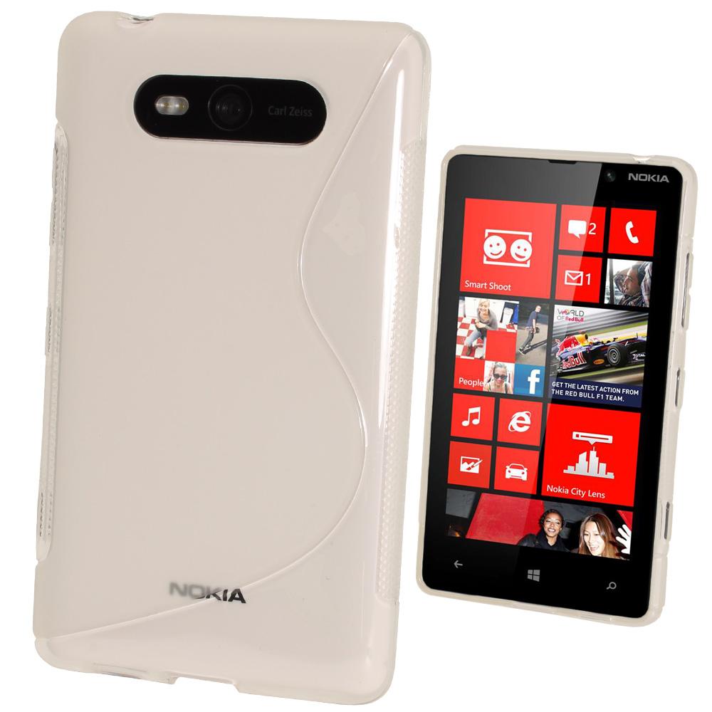 iGadgitz Dual Tone Clear Gel Case for Nokia Lumia 820 + Screen Protector