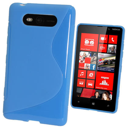 iGadgitz Dual Tone Blue Gel Case for Nokia Lumia 820 + Screen Protector Thumbnail 1