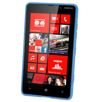 iGadgitz Dual Tone Blue Gel Case for Nokia Lumia 820 + Screen Protector Thumbnail 2