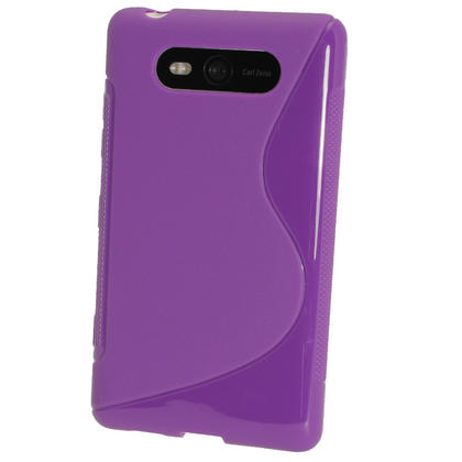 iGadgitz Dual Tone Purple Gel Case for Nokia Lumia 820 + Screen Protector Thumbnail 3