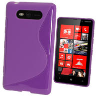 iGadgitz Dual Tone Purple Gel Case for Nokia Lumia 820 + Screen Protector