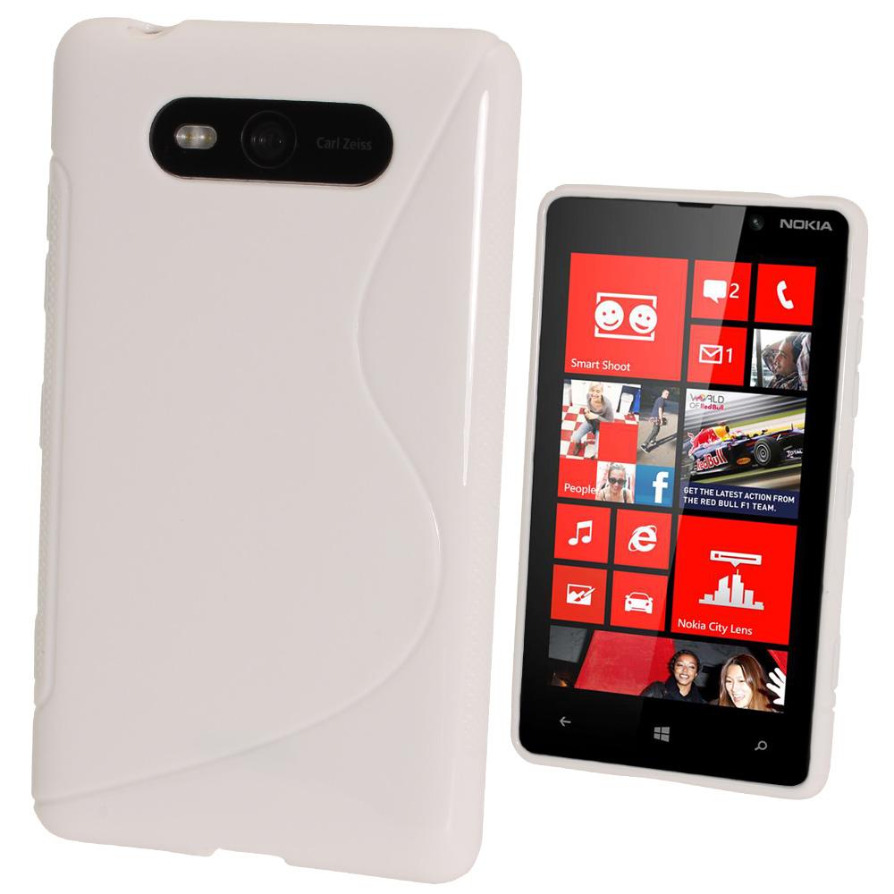 iGadgitz Dual Tone White Gel Case for Nokia Lumia 820 + Screen Protector