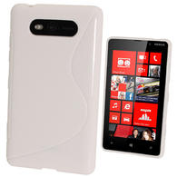 iGadgitz Dual Tone White Gel Case for Nokia Lumia 820 + Screen Protector