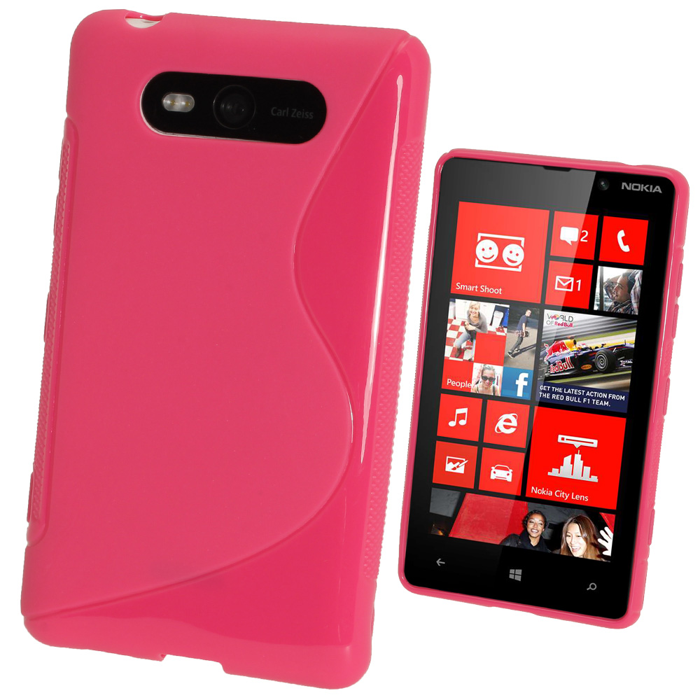 iGadgitz Dual Tone Hot Pink Gel Case for Nokia Lumia 820 + Screen Protector