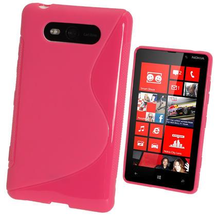 iGadgitz Dual Tone Hot Pink Gel Case for Nokia Lumia 820 + Screen Protector Thumbnail 1