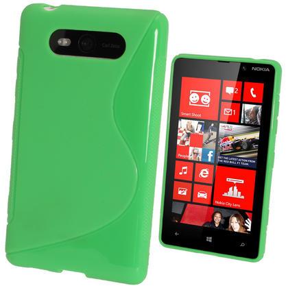 iGadgitz Dual Tone Green Gel Case for Nokia Lumia 820 + Screen Protector Thumbnail 1