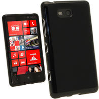 iGadgitz Black Glossy Gel Case for Nokia Lumia 820 + Screen Protector