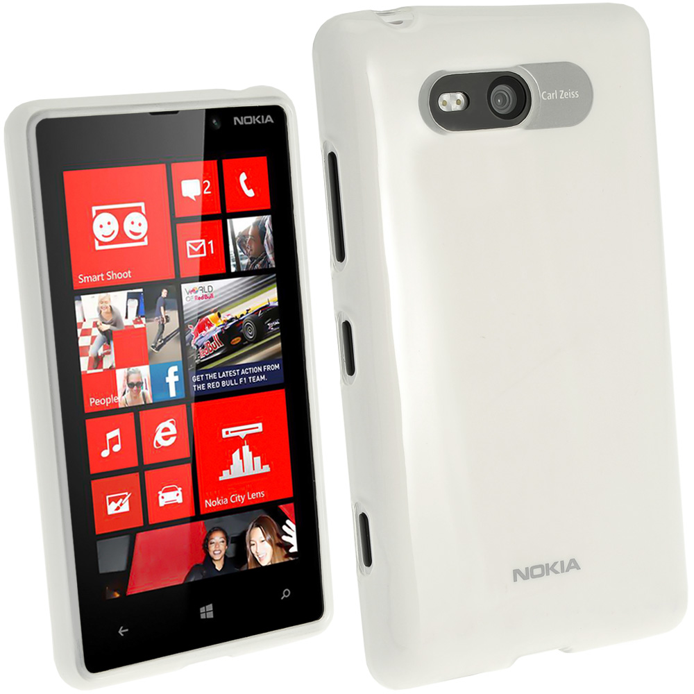 iGadgitz Clear Glossy Gel Case for Nokia Lumia 820 + Screen Protector