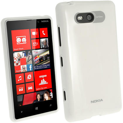 iGadgitz Clear Glossy Gel Case for Nokia Lumia 820 + Screen Protector Thumbnail 1