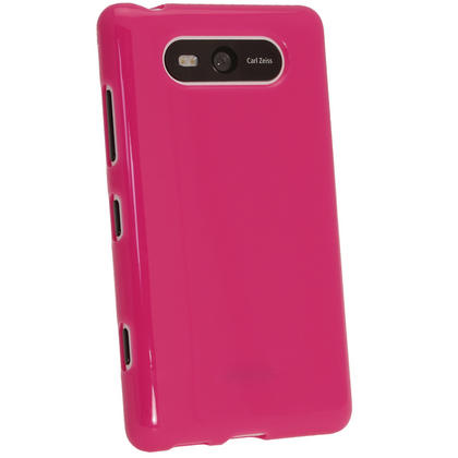 iGadgitz Hot Pink Glossy Gel Case for Nokia Lumia 820 + Screen Protector Thumbnail 3