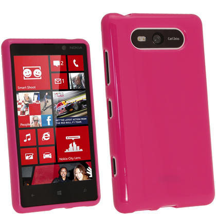 iGadgitz Hot Pink Glossy Gel Case for Nokia Lumia 820 + Screen Protector Thumbnail 1