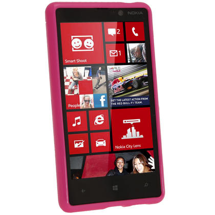 iGadgitz Hot Pink Glossy Gel Case for Nokia Lumia 820 + Screen Protector Thumbnail 2