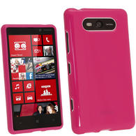 iGadgitz Hot Pink Glossy Gel Case for Nokia Lumia 820 + Screen Protector