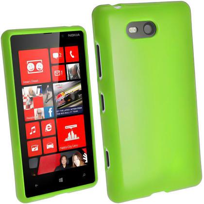 iGadgitz Green Glossy Gel Case for Nokia Lumia 820 + Screen Protector Thumbnail 1
