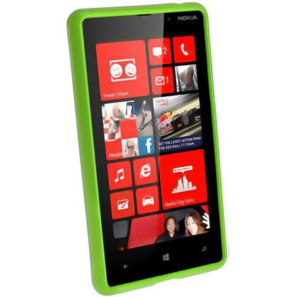 iGadgitz Green Glossy Gel Case for Nokia Lumia 820 + Screen Protector Thumbnail 2