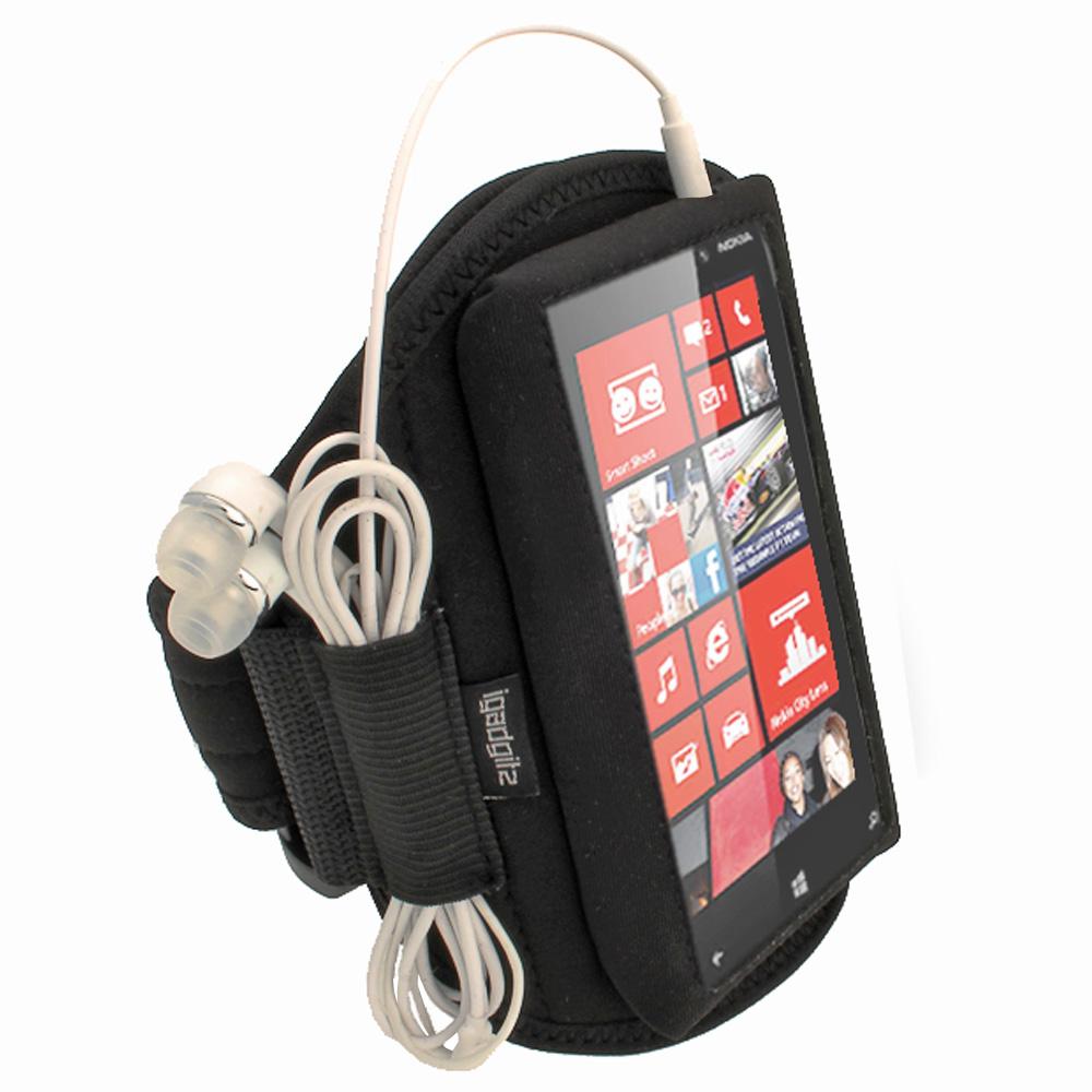 iGadgitz Black Neoprene Sports Gym Jogging Armband for Nokia Lumia 820 Windows Smartphone Mobile Phone