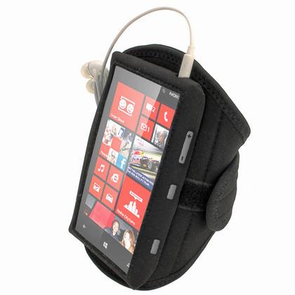 iGadgitz Black Neoprene Sports Gym Jogging Armband for Nokia Lumia 820 Windows Smartphone Mobile Phone Thumbnail 3