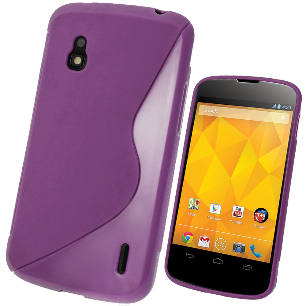 iGadgitz Dual Tone Purple Gel Case for LG Google Nexus 4 E960 + Screen Protector