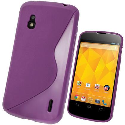iGadgitz Dual Tone Purple Gel Case for LG Google Nexus 4 E960 + Screen Protector Thumbnail 1