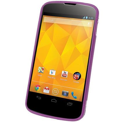 iGadgitz Dual Tone Purple Gel Case for LG Google Nexus 4 E960 + Screen Protector Thumbnail 2