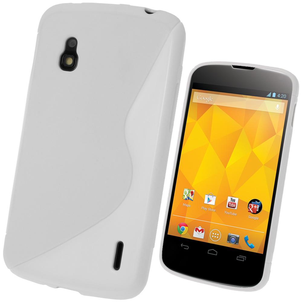 iGadgitz Dual Tone White Gel Case for LG Google Nexus 4 E960 + Screen Protector