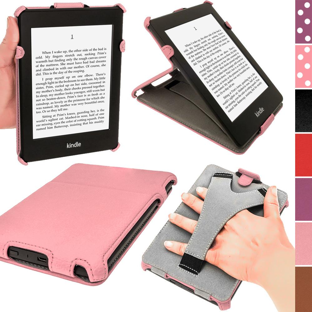 iGadgitz Pink PU 'Heat Molded' Leather Case for Amazon Kindle Paperwhite 2015 2014 2013 2012 + Sleep/Wake & Hand Strap