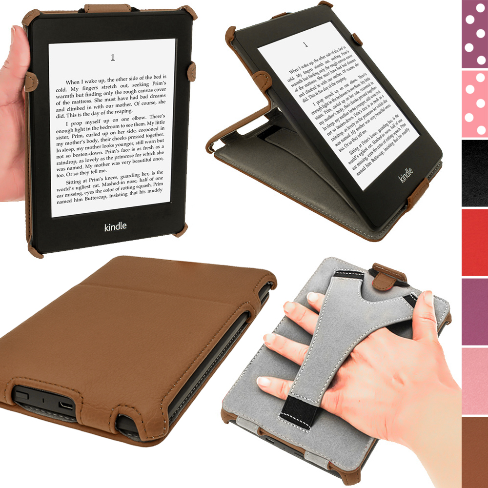 iGadgitz Brown PU 'Heat Molded' Leather Case for Amazon Kindle Paperwhite 2015 2014 2013 2012 + Sleep/Wake & Hand Strap