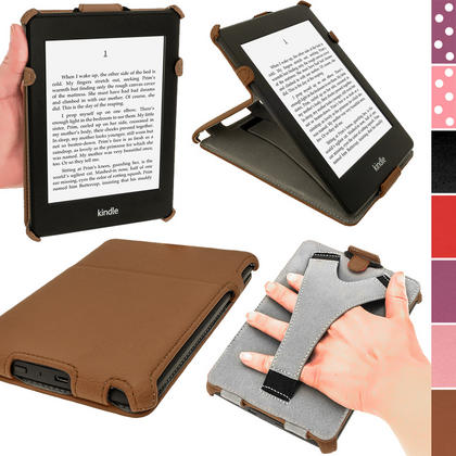 iGadgitz Brown PU 'Heat Molded' Leather Case for Amazon Kindle Paperwhite 2015 2014 2013 2012 + Sleep/Wake & Hand Strap Thumbnail 1