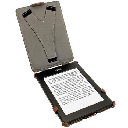 iGadgitz Brown PU 'Heat Molded' Leather Case for Amazon Kindle Paperwhite 2015 2014 2013 2012 + Sleep/Wake & Hand Strap Thumbnail 3