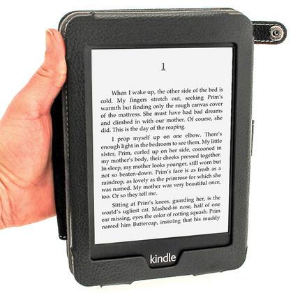 iGadgitz Black PU 'Bi-View' Leather Case for Amazon Kindle Paperwhite 2015 2014 2013 2012 With Sleep/Wake & Hand Strap Thumbnail 5