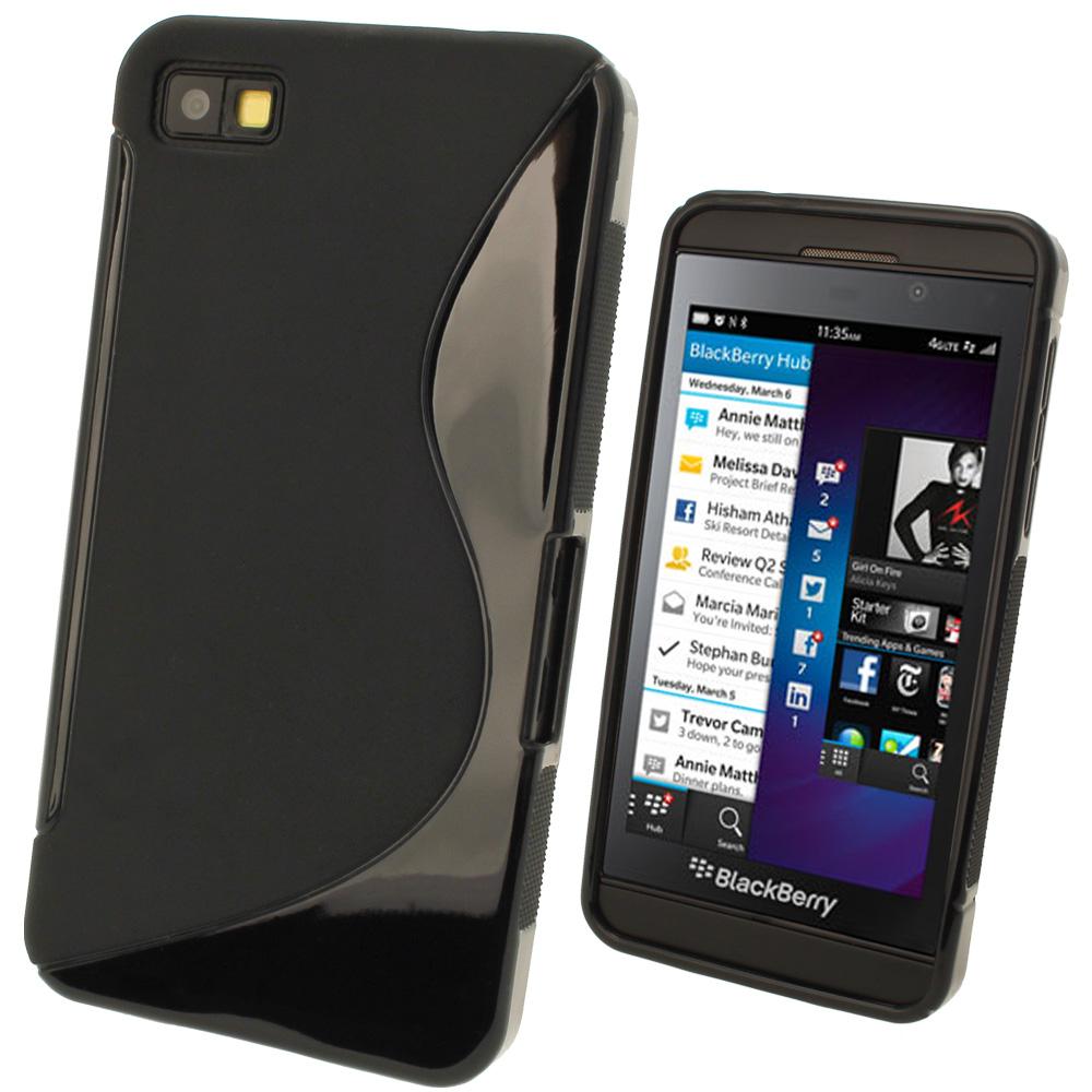 iGadgitz Dual Tone Black Gel Case for BlackBerry Z10 + Screen Protector
